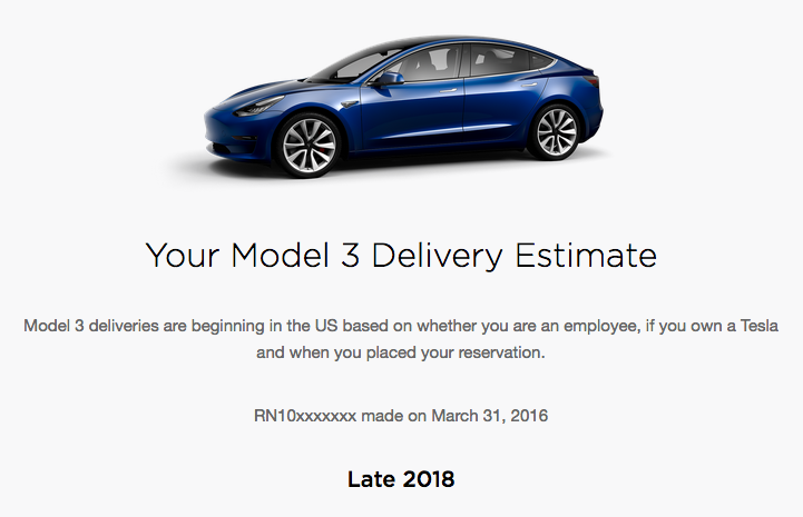 Model 3 Delivery Estimate